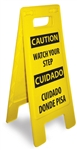 Caution Watch Your Step - Bilingual - Heavy Duty Two Sided Flood Stand Sign