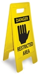 Danger Restricted Area - Heavy Duty Two Sided Flood Stand Signs