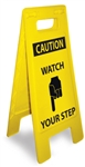 Caution Watch Your Step - Heavy Duty Two Sided Floor Stand Sign