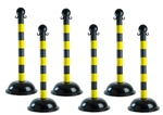 Portable Plastic Stanchions with Black and Yellow Striped Warning Posts - Sold 6 per case