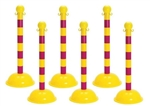 Yellow and Magenta Portable Plastic Stanchion Kit - 6 per case