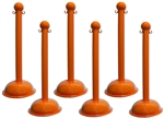 Orange Portable Plastic Stanchions - Sold 6 per case