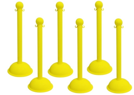 yellow portable plastic stanchions sold 6 per case