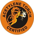 Acetylene Torch Certified - Hard Hat Labels are constructed from Durable, Pressure Sensitive Vinyl or Engineer Grade Reflective for maximum day or nighttime visibility.