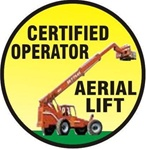 Certified Aerial Lift Operator - Hard Hat Labels are constructed from Durable, Pressure Sensitive Vinyl or Engineer Grade Reflective for maximum day or nighttime visibility.