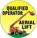 Qualified Aerial Lift Operator - Hard Hat Labels are constructed from Durable, Pressure Sensitive Vinyl or Engineer Grade Reflective for maximum day or nighttime visibility.