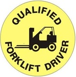 Qualified Forklift Driver - Hard Hat Labels are constructed from Durable, Pressure Sensitive Vinyl or Engineer Grade Reflective for maximum day or nighttime visibility.