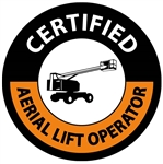 Certified Aerial Lift Operator Hard Hat Labels are constructed from Durable, Pressure Sensitive Vinyl or Engineer Grade Reflective for maximum day or nighttime visibility.
