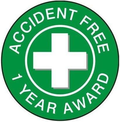 Accident Free Award 1 Year - Hard Hat Labels are constructed from Durable, Pressure Sensitive Vinyl or Engineer Grade Reflective for maximum day or nighttime visibility.