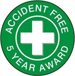Accident Free Award 5 Year - Hard Hat Labels are constructed from Durable, Pressure Sensitive Vinyl or Engineer Grade Reflective for maximum day or nighttime visibility.
