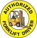 Authorized Forklift Driver - Hard Hat Labels are constructed from Durable, Pressure Sensitive Vinyl or Engineer Grade Reflective for maximum day or nighttime visibility.