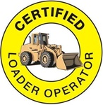 Certified Loader Operator - Hard Hat Labels are constructed from Durable, Pressure Sensitive Vinyl or Engineer Grade Reflective , Sold 25 per pack