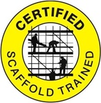Certified Scaffold Trained - Hard Hat Labels are constructed from Durable, Pressure Sensitive Vinyl or Engineer Grade Reflective for maximum day or nighttime visibility.