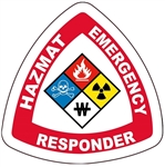 Hazmat Emergency Responder Hard Hat Labels are constructed from Durable, Pressure Sensitive Vinyl or Engineer Grade Reflective for maximum day or nighttime visibility.