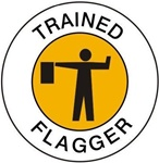 Trained Flagger - Hard Hat Labels are constructed from Durable, Pressure Sensitive Vinyl, Sold 25 per pack