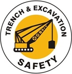 Trench & Excavation Safety - Hard Hat Labels are constructed from Durable, Pressure Sensitive Vinyl, Sold 25 per pack