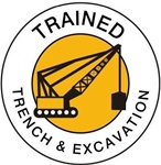 Trained Trench & Excavation - Hard Hat Labels are constructed from Durable, Pressure Sensitive Vinyl or Engineer Grade Reflective , Sold 25 per pack