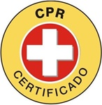 Spanish CPR Certified - Hard Hat Labels are constructed from Durable, Pressure Sensitive Vinyl, Sold 25 per pack