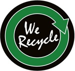 We Recycle - Hard Hat Labels are constructed from Durable, Pressure Sensitive Vinyl, Sold 25 per pack