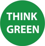 Think Green - Hard Hat Labels are constructed from Durable, Pressure Sensitive Vinyl, Sold 25 per pack