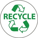 Recycle Hard Hat Labels are constructed from Durable, Pressure Sensitive Vinyl, Sold 25 per pack