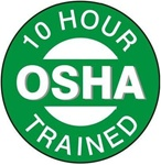 10 Hour OSHA Trained - Hard Hat Emblems are constructed from Durable, Pressure Sensitive Vinyl or Engineer Grade Reflective , Sold 25 per pack
