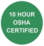 10 Hour OSHA Certified - Hard Hat Labels are constructed from Durable, Pressure Sensitive Vinyl, Sold 25 per pack