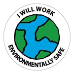 I Will Work Environmentally Safe - Hard Hat Labels are constructed from Durable, Pressure Sensitive Vinyl, Sold 25 per pack
