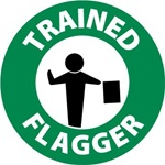 Trained Flagger Hard Hat Labels are constructed from Durable, Pressure Sensitive Vinyl, Sold 25 per pack