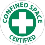 Confined Space Certified - Hard Hat Labels are constructed from Durable, Pressure Sensitive Vinyl, Sold 25 per pack