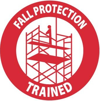 Fall Protection Trained - Hard Hat Labels are constructed from Durable, Pressure Sensitive Vinyl, Sold 25 per pack