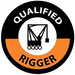 "Qualified Rigger - 2"" Diameter Hard Hat Labels are constructed from Durable, Pressure Sensitive Vinyl, Sold 25 per pack"