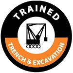 Trained Trench & Excavation - Hard Hat Labels are constructed from Durable, Pressure Sensitive Vinyl, Sold 25 per pack