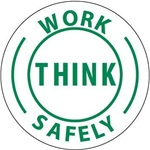 Think Work Safely - Hard Hat Labels are constructed from Durable, Pressure Sensitive Vinyl, Sold 25 per pack