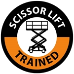 Scissor Lift Trained - Hard Hat Labels are constructed from Durable, Pressure Sensitive Vinyl, Sold 25 per pack
