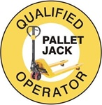 Qualified Pallet Jack Operator - Hard Hat Labels are constructed from Durable, Pressure Sensitive Vinyl, Sold 25 per pack