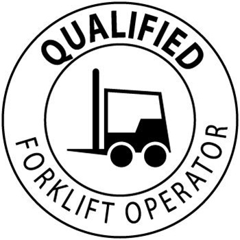 Qualified Forklift Operator - Hard Hat Labels are constructed from Durable, Pressure Sensitive Vinyl, Sold 25 per pack