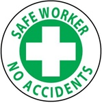 Safe Worker No Accidents - Hard Hat Labels are constructed from Durable, Pressure Sensitive Vinyl, Sold 25 per pack