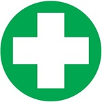 First Aid White Cross - Hard Hat Labels are constructed from Durable, Pressure Sensitive Vinyl, Sold 25 per pack