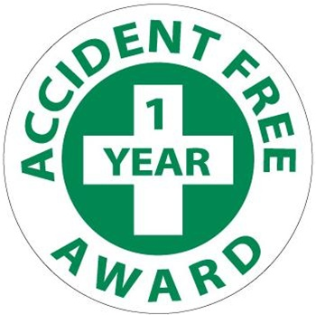 Accident Free Award 1 Year - Lock it Out - Hard Hat Labels are constructed from Durable, Pressure Sensitive Vinyl, Sold 25 per pack