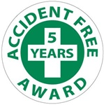 Accident Free Award 5 Years - Lock it Out - Hard Hat Labels are constructed from Durable, Pressure Sensitive Vinyl, Sold 25 per pack