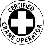 Certified Crane Operator - Hard Hat Labels are constructed from Durable, Pressure Sensitive Vinyl, Sold 25 per pack