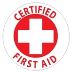 Certified First Aid - Hard Hat Labels are constructed from Durable, Pressure Sensitive Vinyl, Sold 25 per pack