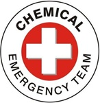 Chemical Emergency Team - Hard Hat Labels are constructed from Durable, Pressure Sensitive Vinyl, Sold 25 per pack