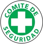 Comite De Seguridad - Spanish - Safety Committee - Hard Hat Labels are constructed from Durable, Pressure Sensitive Vinyl, Sold 25 per pack