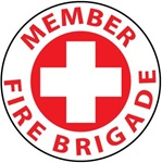 Member Fire Brigade - Hard Hat Labels are constructed from Durable, Pressure Sensitive Vinyl, Sold 25 per pack