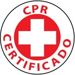CPR Certified Spanish Hard Hat Labels are constructed from Durable, Pressure Sensitive Vinyl, Sold 25 per pack