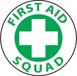 First Aid Squad - Hard Hat Labels are constructed from Durable, Pressure Sensitive Vinyl, Sold 25 per pack