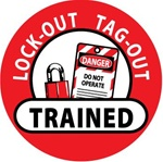 Lockout Tagout Trained - Lock it Out - Hard Hat Labels are constructed from Durable, Pressure Sensitive Vinyl, Sold 25 per pack