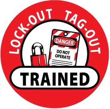 Lockout Tagout Trained - Lock it Out - Hard Hat Labels are constructed from Durable, Pressure Sensitive or Reflective Vinyl, Sold 25 per pack